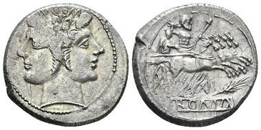 Lot 389: Roman Republic. Quadrigatus. Sicily, 214-212. About Extremely Fine. Starting bid: 600 GBP.