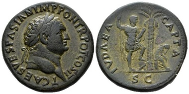 Lot 528: Titus Caesar, 69-79. Sestertius, circa AD 72. Rare, attractive dark green patina, gently smoothed and somewhat tooled, otherwise Good Very Fine. Starting bid: 1,500 GBP.