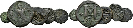 Lot 661: Lot of five coins. Syracuse unless stated. V-VI cent., bronze. Heraclius, decanummium year GII Catania; Heraclius, follis; Heraclius with Heraclius Constantine, follis; Constans II, follis; Constantine V and Leo IV, follis. About Very Fine-Very Fine. From the Spahr collection. Sold with the original collector's ticket. Starting bid: 35 GBP.