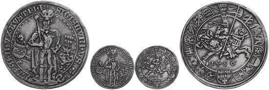 Los 283: Erzherzog Sigismund. Guldiner, 1486, Hall. Kl. Sammlerpunze auf dem Avers, Randschlag. ss-vz. Taxe: 3.000 Euro. Zuschlag: 9.000 Euro.