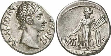 Augustus, Denar, 15 v. Chr., Lugdunum. Rv. Apollon von Actium mit Lyra und Plektron. RIC 171a. Aus Auktion Gorny & Mosch 186 (2010), 1856.