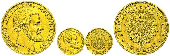 Los 911: Deutsches Reich. Heinrich XXII. 20 Mark 1875. Fast vz. Taxe und Zuschlag: 20.000 Euro.