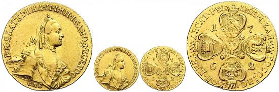 Los 1881: Russland. Katharina II. 10 Rubel, 1762, St. Petersburg. ss. Taxe: 7.000 Euro. Zuschlag: 7.700 Euro.