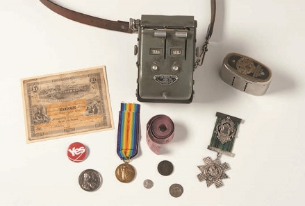 Military and civil items representing Scotland. Photo: Inverness Museum and Art Gallery