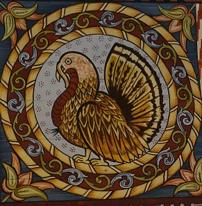 Detail from the painted vaults from 1652: turkey. Photo: UK.