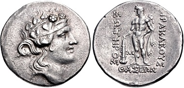 Lot 22: Islands off Thrace, Thasos. Tetradrachm, circa 140-110 BC. Good VF, toned. Estimate: $300.
