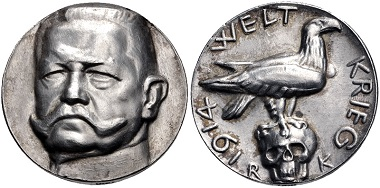 Lot 525: German Empire. Silver medal on Paul von Hindenburg, 1914. Near EF. Estimate: $100.