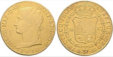 Lot 935: Joseph Napoleon. Madrid. 320 reales. 1810. Extremely fine-/ Extremely fine +. Starting bid: 6,500 euros.