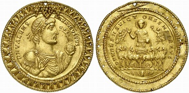 This Valens gold medallion of 9 solidi (probably unique) was auctioned off in 2009 under lot number 839 in the Künker auction 158 for 360,000 euros.
