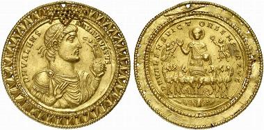 Dieses goldene Medaillon des Valens zu 9 solidi (wohl ein Unikum) wurde 2009 als Losnr. 839 in der Auktion 158 bei Künker für 360.000 Euro versteigert.