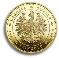 Diesen Ein-Unze-Thaler in Gold gibt es in einer Auflage von 200. © Degussa Goldhandel.