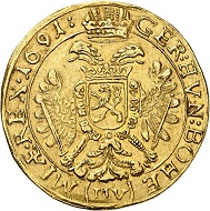 No. 6275. Holy Roman Empire. Leopold I, 1657-1705. 5 ducats 1691, Prague. Very rare. Very fine+. Estimate: 10,000 euros. Price realized: 100,000 euros.