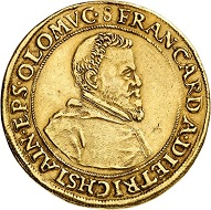 No. 6400. Olomouc. Franz von Dietrichstein, 1599-1624-1636. 5 ducats n.d. (approx. 1630), Kromeríz. Extremely rare. Very fine+. Estimate: 20,000 euros. Price realized: 65,000 euros.