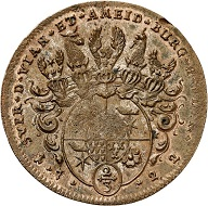 No. 4247. Lippe: Simon Heinrich Adolf, 1718-1734. Copper strike of the dies of the 2/3 taler 1722, Detmold. Very rare. Extremely fine. Estimate: 150 euros. Price realized: 1,550 euros.