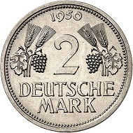 No. 5561. Germany. Essay of 2 DM 1950, D, rye stalks, cupro-nickel of Jäger 386. Estimate: 1,500 euros. Price realized: 9,500 euros.
