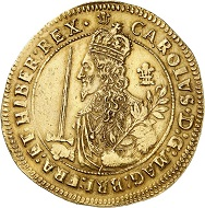 No. 6144. England. Charles I, 1625-1649. Triple unite 1644, Oxford. Very rare. Nearly extremely fine. Estimate: 50,000 euros. Price realized: 60,000 euros.
