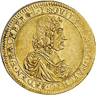 No. 6425. Baden-Baden. Wilhelm, 1622-1677. Ducat 1674, Baden-Baden. Extremely rare. Extremely fine. Estimate: 30,000 euros. Price realized: 55,000 euros.