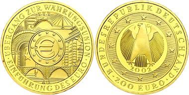 Los 420: 200 Euro, Gold, 2002, G, Währungsunion, mit Zertifikat in Ausgabeschatulle, st. Ausruf: 1.600 Euro.