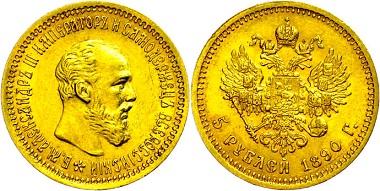 Los 797: Alexander III. 5 Rubel, Gold, 1890. kl. Rf., vz. Ausruf: 350 Euro.