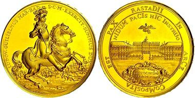 Los 1119: Baden, Goldmedaille, 1955, unsigniert, auf den 300. Geburtstag des Markgrafen Ludwig Wilhelm und den Frieden von Rastatt. Mit Randschrift, wz. Kratzer, f.st. Ausruf: 1.900 Euro.