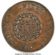 1793 1C Chain, AMERICA, Periods, S-4, B-5, R.3, MS65 Brown PCGS. CAC. Realized: $990,000.