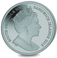 South Georgia & South Sandwich Islands / 2 GPB / Ice grey titanium .990 / 10g / 36.10mm / Mintage: 7,500.