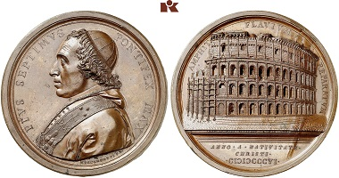 A bronze medal of Pope Pius VII from 1807. From Künker auction 305 (2018), 2960.
