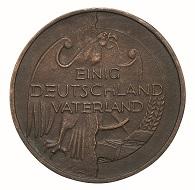 Gerhard Rommel: Einigung Deutschlands II b. Neue Bundesländer – Aufschwung Ost, 1993. Bronze, gegossen, 80 mm. Foto: Reinhard Saczewski.