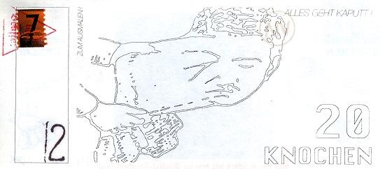 Ioe Bsaffot, Via Lewandowski: Knochengeld, 20 Pfund, 1993. Papier, 149 x 69, Auflage: 14/100. Foto: Münzkabinett.
