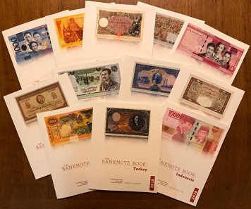 The covers of the some of The Banknote Book's chapters. In response to customer demand, select chapters of The Banknote Book are now available in print. Photo: Owen W. Linzmayer.