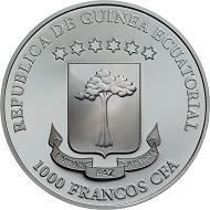 Equatorial Guinea / 1,000 Francos CFA / .999 silver / 1 oz. / 38.61 mm / Mintage: 1,750.