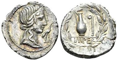 Lot 439: Q. Caecilius Metellus Pius. Denarius 81. Extremely Fine. Starting bid: 60 GBP.