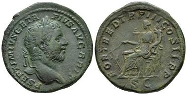 Lot 585: Geta, 209-212. Sestertius, circa 211. Very Fine. Starting bid: 1,000 GBP.