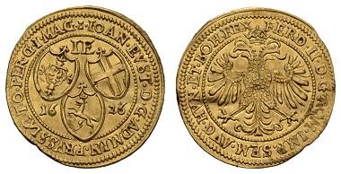 Los 188: Deutscher Orden. Johann Eustach von Westernach, 1624-1627. Dukat, 1626. Ausruf: 7500 Euro Zuschlag: 9.500 Euro.