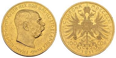 Los 910: Österreich. Franz Joseph, 1848-1916, 100 Kronen, 1911. Kleine Kratzer, fast noch spiegelnde Felder. Ausruf: 1500 Euro Zuschlag: 2300 Euro.