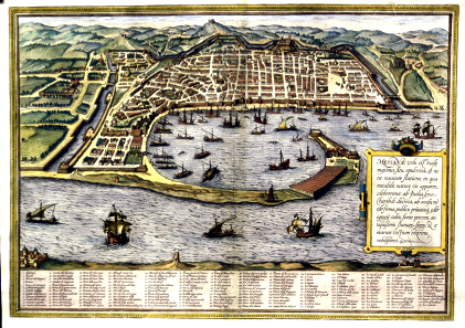 Engraving of the city Messina by G. Braun & F. Hogenberg from the year 1572.