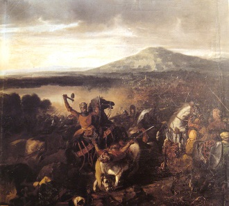 Roger in the battle of Cerami, 1063. Painting by Prosper Lafaye around 1860.