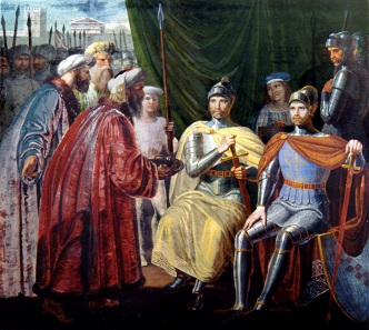 Roger receives the keys of Palermo. Painting by Giuseppe Patania, 1830.