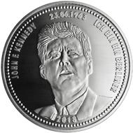 """Die Gedenkprägung """"Ich bin ein Berliner"""" der Münze Berlin ist gefertigt aus .333 Silber und misst 32,5 mm im Durchmesser."""