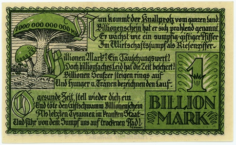 A 1-trillion-mark note issued by the town of Bamberg in 1923.