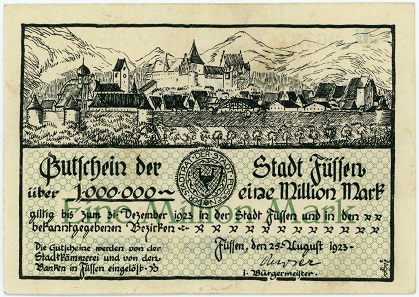 The town of Füssen issued this 1-million-mark note in 1923.