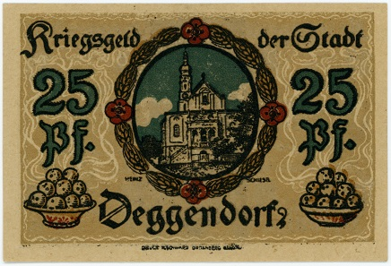 This 25-Pfenning note was issued in Deggendorf shortly before the end of the First World War.