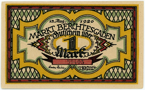 A colorful 1-mark note from Berchtesgaden, 1920.