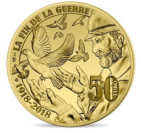 The new 50-euro collector gold coin commemorates the end of WWI in 1918 and is France's first Fairmined-certified coin.