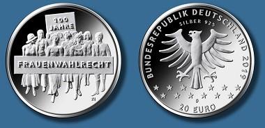 """So soll die neue Münze """"100 Jahre Frauenwahlrecht"""" aussehen. Quelle: Bundesverwaltungsamt."""