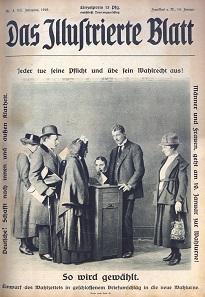 """Das Titelblatt der Frankfurter Wochenzeitschrift """"Das Illustrierte Blatt"""" ruft die Bürger zur ersten demokratischen Wahl in Deutschland:"""
