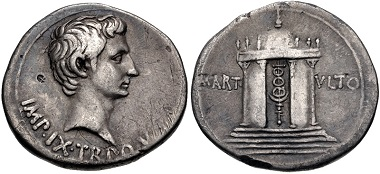 Lot 394: Augustus, 27 BC-AD 14. Cistophorus, 19-18 BC, Pergamum. From the WRG Collection. VF, toned, small countermark in obverse field. Estimate: $500.