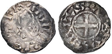 Lot 677: France. Henri I, 1031-1060. Denier, circa 1040-1060, Paris. From the BRN Collection. VF. Very rare, only 6 in CoinArchives. Estimate: $1,000.
