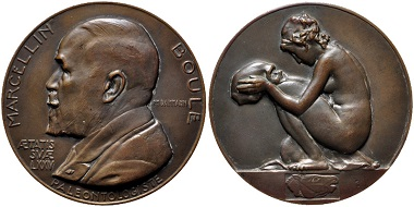Lot 754: France. Cast medal on Marcellin Boule's 75th birthday (1861-1942) by Paul-Marcel Dammann. Manufactured 1936. Marcellin Boule was a paleontologist and an early student of Neanderthal Man. EF. Estimate: $200.