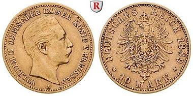 Deutsches Kaiserreich. Preußen. Wilhelm II., 10 Mark 1889 A. ss+. 7.750 Euro.